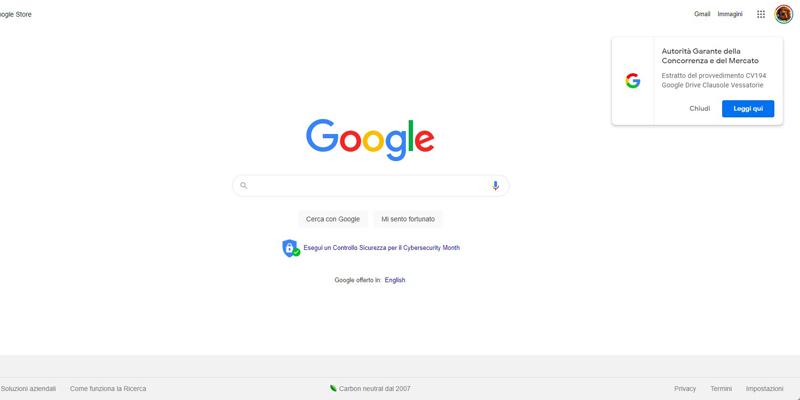 Google notifica un messaggio dell'Autorità Garante della Concorrenza e del Mercato sul browser. Cos'è?